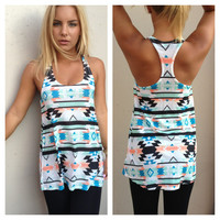 Mint & Teal Aztec Print T-Back Tank