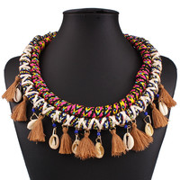 Coffee Contrast Boho Weaved Shell And Tassel Detail Necklace