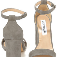 Steve Madden Carrson Taupe Suede Leather Ankle Strap Heels