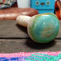 Gold and Turquoise I see your TRUE COLORS<3 Glass Pipe