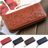 Floral Carvings Bow Zipper Long Wallet
