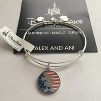 Disney Alex and Ani Parks Mickey Mouse Flag Bangle Silver Finish New Tags