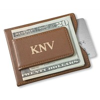 Personalized Brown Wallet - Magnetic Money Clip & Wallet - Brown