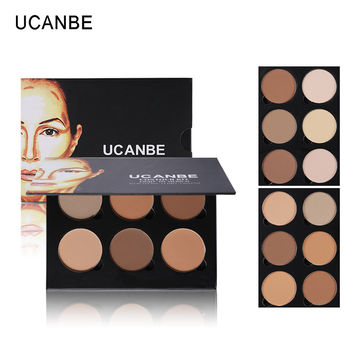 UCANBE Makeup Highlighter Bronzer Glow Kit 6Color Powder Contour Palette Light Medium Contouring Highlighting Shading Face Sharp