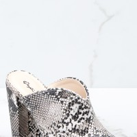 How It Goes Snake Print Mule