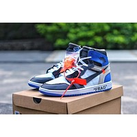 Air Jordan 1 Retro High OG OFF-White x OW Royal Blue AJ1 Sneakers