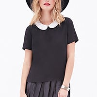 LOVE 21 Beaded Peter Pan Collar Blouse Black/Ivory
