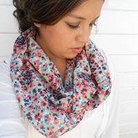 Coral and Teal Floral Infinity Scarf
