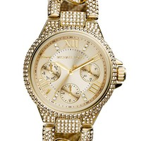 Women's Michael Kors 'Mini Camille' Crystal Encrusted Chain Link Bracelet Watch, 34mm