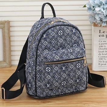LV Louis Vuitton 1854 canvas embroidered letters shopping backpack school bag travel bag luggage bag Daypack Blue