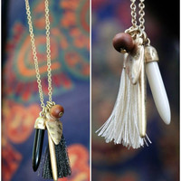 Queen Of The Desert Arrowhead & Tassel Necklace