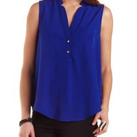 Sleeveless Button-Up Swing Top by Charlotte Russe
