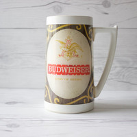 Vintage Thermo-Serv Plastic Budweiser Beer Mug | Made in the USA | Breweriana Beer Collectable