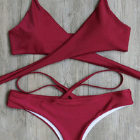 Wine Red Bandage Bathing Suits Bikini Set