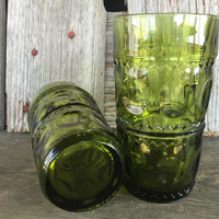 1960s kings crown thumbprint olive green tumblers, vintage Indiana Glassware, retro green water glasses, Green Kings crown glassware, green