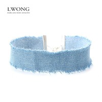 LWONG Stylish 3CM Width Blue Denim Choker for Women Distressed Denim Jeans Choker Chockers Necklace Jewelry Collier Ras Du Cou