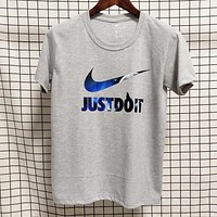 NIKE Just do it New fashion letter hook print couple top t-shirt Gray