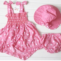 Summer new baby girls pink dots outfits three-piece suits = 1704347780