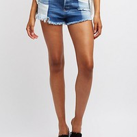 Refuge Destroyed Colorblock Denim Shorts