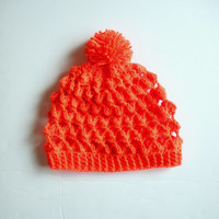 Slouchy Crochet Beanie Hat in Neon Tangerine, Lacy stitch, ready to ship.
