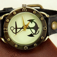 Brown Anchor Leather Watch