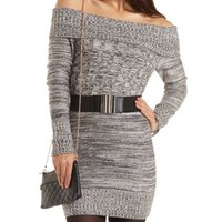 Fold-Over Off-The-Shoulder Sweater Dress - Med Gray Combo