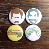 Parks and Rec Ron Swanson Tom Haverford Button Set