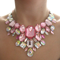 Glittering Pink and Clear Aurora Borealis Rhinestone Statement Bib Necklace, Fashion Costume Jewelery, Deco Loli, Cute Style
