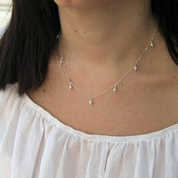 Swarovski Pearl Necklace, White Pearl Necklace, 14k Gold Filled or Sterling Silver, Dainty Dangle Necklace, June Birthstone, Bridesmaid Gift