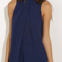 Blue Turtle Neck Back Hole Pleated Chiffon Blouse