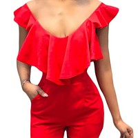 Explosive sexy multicolor ruffled V-neck open back jumpsuit
