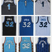 High Quality #1 Penny Hardaway Throwback Basketball Jersey Blue White Red #33 Shaquille O'Neal College College Mesh Basketball Jerseys Free