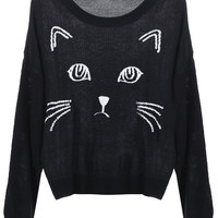 ROMWE | Knitted Cat Face Print Black Jumper, The Latest Street Fashion