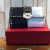 Valentino Women Crossbody Rivets Metal Shoulder Bag B-3A-XNRSSNB Light Black&White