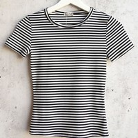 Free People Baby Rib Knit Tee in Black/White STripe