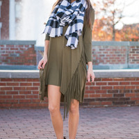 Army Green Fringe 3/4 Sleeve Dress