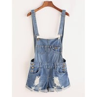 Oh Please Distressed Rolled Hem Overall Denim Shorts - Blue