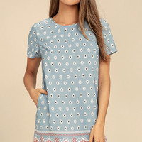 Secret Paradise Blue Print Shift Dress