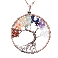 7 Chakra Tree Of Life Pendant | Copper Crystal Natural Stone Necklace