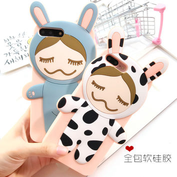 Cute Japan 3D Cartoon Cows Rinka Doll Silicone Case For iphone 7 7Plus Soft back cover Cartoon cases