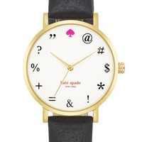 kate spade new york 'metro - expletives' leather strap watch, 34mm | Nordstrom