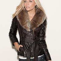 Kason Faux-Leather Coat at Guess