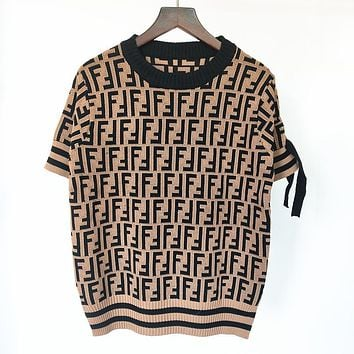 FENDI new FF jacquard round neck short-sleeved lace-up knitted top