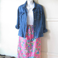 Shabby Blue Rose Print on Hot Pink Denim Skirt; Women's XS-Small Knee-Length Vintage Pink Jean Skirt; U.S. Shipping Included