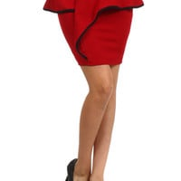 Mini Peplum Ruffle Lined Skirt - Red