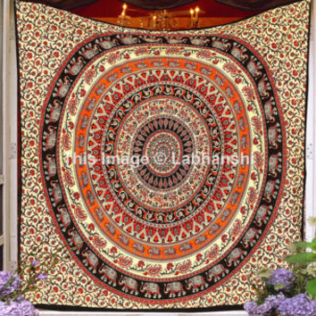 Elephant Deer Tapestry Wall Hanging, Mandala Tapestry, Hippie Tapestries, Bohemian Tapestries, Wall Tapestries, Indian Tapestry, Beach throw