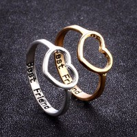 1pcs Best Friend Heart Ring Fashion Promise Jewelry Anel Bague Femme Charming Love Stackable Finger Rings Shellhard