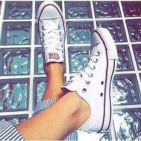 "x1love :""Converse"" Fashion Canvas Flats Sneakers Sport Shoes White"