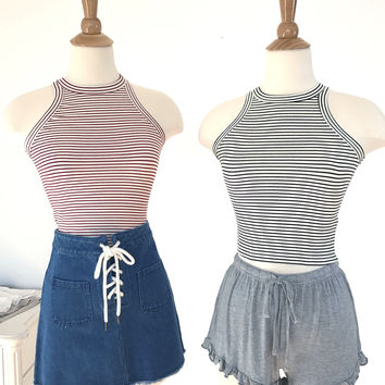 Striped Basic Crop Top - 4 Colors