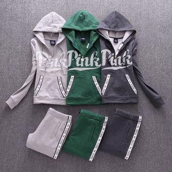 victoria s secret pink casual print hoodie top sweater pants trousers set two piece sportswear
